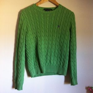Ralph Lauren Lime Green Crewneck Cable Knit Sweate